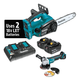 Makita XCU02PTX1 18V X2 (36V) LXT 5.0 Ah Cordless Lithium-Ion Chain Saw and Angle Grinder Combo Kit