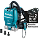 Makita XCV05ZX 18V X2 LXT Lithium-Ion (36V) Brushless Cordless 1/2 Gallon HEPA Filter Backpack Dry Dust Extractor/Vacuum with Adapters, Tool Only