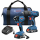 Bosch GXL18V-26B22 18V 2-Tool Combo Kit with 1/2 In. Compact Drill/Driver and 1/4 In. Hex Impact Driver