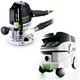 Festool P26574342 Plunge Router with CT 26 E 6.9 Gallon HEPA Mobile Dust Extractor
