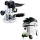 Festool P36574339 Plunge Router with CT 36 E 9.5 Gallon HEPA Mobile Dust Extractor