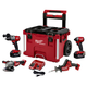 Milwaukee 2997-24PO M18 FUEL Lithium-Ion 4-Tool with PACKOUT Rolling Tool Box Combo Kit (5 Ah)