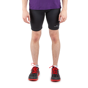 Black Ronhill Everyday Run Mens Short Running Tights