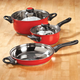 5 pc Red Stainless Cookware Set by Home-Style Kitchen