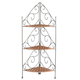 3-Tier Wicker & Metal Corner Shelf