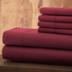 Hotel 5th Ave Solid Color Microfiber Sheet Set, Maroon