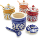 Hand-Painted Floral Sugar Dishes with Lids
