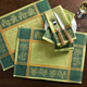 Green Olive-Motif Jacquard Placemats, 18