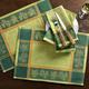 Green Olive-Motif Jacquard Placemats, 18