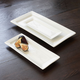 White Rectangular Porcelain Platters, Set of Three