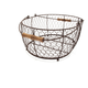 Antique Bronze Oval Baskets with Wood Handles