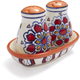 Red Floral Ceramic Salt and Pepper Shakers, 3-Piece Set
