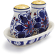 Blue Floral Ceramic Salt and Pepper Shakers, 3-Piece Set