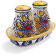 Gold Floral Ceramic Salt and Pepper Shakers, 3-Piece Set