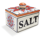 Red Floral Ceramic Salt Box
