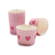 Paper Eskimo Pink with Pink Heart Baking Cups, Set of 25