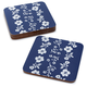 Antique Floral Cork-Backed Coasters, Set of 4