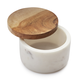 Marble Salt Keeper with Acacia Wood Lid