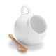 Porcelain Salt Cellar with Wooden Spoon