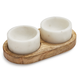 Marble and Wood 3-Piece Serving Set