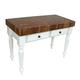 John Boos & Co. Le Rustica Walnut Block Table with Alabaster Base, 48