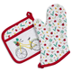 Bicycle Oven Mitt and Pot Holder Set