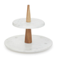 Marble and Acacia Wood Two-Tier Stand