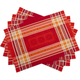 Red Ruban Jacquard Placemats, Set of 4