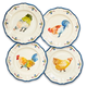 Jacques Pépin Collection Assorted Chickens Appetizer Plates, Set of 4