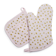 Rose Gold Confetti Pot Holder and Oven Mitt Set