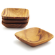 Be Home Teak Square Pinch Bowls, Set of 4