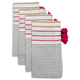 Pink Striped Fringe Napkins, Set of 4