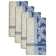 Blue Jacquard Spring Floral Napkins, Set of 4