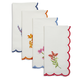 Embroidered Floral Scallop Napkins, Set of 4