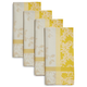 Yellow Jacquard Spring Floral Napkins, Set of 4