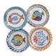 Positano Fish Melamine Appetizer Plates, Set of 4