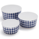 Gingham Melamine Bowls with Lids, Set of 3