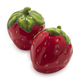 Strawberry Salt & Pepper Shakers with Leaf Plate Holder