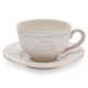 Pearl Stoneware Cappuccino Mug with Saucer