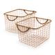 Rose Gold Wire Baskets, Set of 2