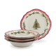 Holly and Pine Pasta Bowls, Set of 4