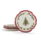 Holly and Pine Salad Plates, Set of 4