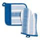 Blue Striped Pot Holder & Mitt Gift Set