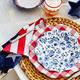 Blue Foral Melamine Salad Plate