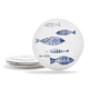 Fish Melamine Appetizer Plates, Set of 4