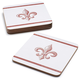 Fleur de Lys Cork-Backed Coasters, Set of 4