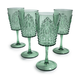Green Ruby Wine Glasses, Set of 4