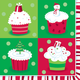 Christmas Cupcakes Paper Cocktail Napkins