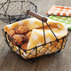 Square Wire Basket with Wood Handle, 6¾