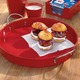 Round Red Galvanized Serving Tray